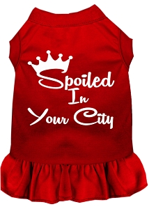 Spoiled in Custom City Screen Print Souvenir Dog Dress Red Med